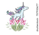 retro style botanical... | Shutterstock .eps vector #707933677