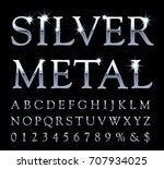 vector set of silver alphabet...   Shutterstock .eps vector #707934025