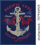 vintage nautical graphics and... | Shutterstock .eps vector #707934925