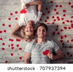 top view of beautiful young...   Shutterstock . vector #707937394