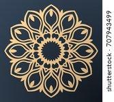 laser cutting mandala. golden... | Shutterstock .eps vector #707943499