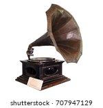 vintage gramophone isolate on... | Shutterstock . vector #707947129