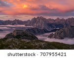 sunrise in dolomites  | Shutterstock . vector #707955421
