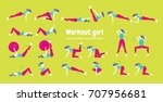 body workout set. woman doing... | Shutterstock . vector #707956681