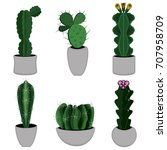 cactus icon  on a white...   Shutterstock .eps vector #707958709