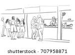 vector art drawing of people in ... | Shutterstock .eps vector #707958871