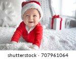 Cute Little Baby In Santa Hat...