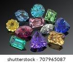 handful of various jewels on... | Shutterstock . vector #707965087