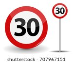 round red road sign speed limit ... | Shutterstock . vector #707967151