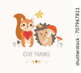 thanksgiving design with cute... | Shutterstock .eps vector #707967811