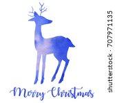 watercolor blue deer silhouette ... | Shutterstock . vector #707971135