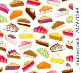 colorful sweet cakes and pies... | Shutterstock .eps vector #707971564