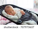 Cute Newborn Baby Boy  Sleepin...