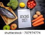 atkins diet on chalkboard ... | Shutterstock . vector #707974774