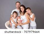 beautiful family portrait ... | Shutterstock . vector #707979664