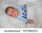 little newborn baby looking ... | Shutterstock . vector #707980291