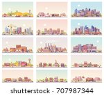 vector low poly landscapes set. ... | Shutterstock .eps vector #707987344