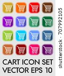 set of cart icons  rounded...