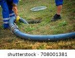 emptying household septic tank. ... | Shutterstock . vector #708001381