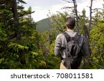 young man with packpack is... | Shutterstock . vector #708011581