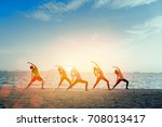 young group man and woman yoga... | Shutterstock . vector #708013417