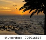 sunset on tropical beach with... | Shutterstock . vector #708016819