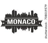 monaco skyline silhouette city... | Shutterstock .eps vector #708019579