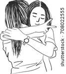vector art drawing of two happy ... | Shutterstock .eps vector #708022555