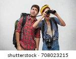 young european couple on safari ... | Shutterstock . vector #708023215