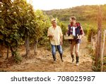 smiling winemaker father and... | Shutterstock . vector #708025987