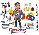electricians character design... | Shutterstock .eps vector #708026809