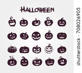 set pumpkins for halloween   | Shutterstock .eps vector #708026905