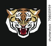 stylized head of a tiger. the... | Shutterstock . vector #708035959
