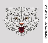 stylized head of a tiger. the... | Shutterstock . vector #708035965
