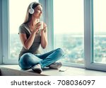 beautiful woman in casual... | Shutterstock . vector #708036097