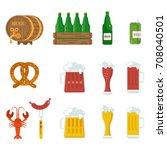 beer icons set. beer feast  bar ... | Shutterstock . vector #708040501