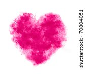 pink watercolor Painted Heart - stock photo