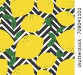 fresh lemons background. hand... | Shutterstock .eps vector #708041101