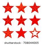 set red vector christmas... | Shutterstock .eps vector #708044005