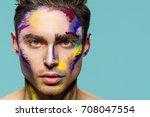 male face  makeup art. handsome ... | Shutterstock . vector #708047554