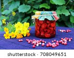 still life with strawberry jam... | Shutterstock . vector #708049651