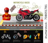 motorcycle races infographic.... | Shutterstock .eps vector #708051781