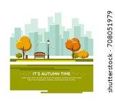 autumn landscape background.... | Shutterstock .eps vector #708051979
