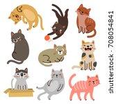 vector cats. set characters.... | Shutterstock .eps vector #708054841