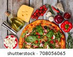 colorful picture of pizza.... | Shutterstock . vector #708056065