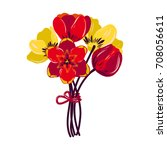 tulips. bouquet. red and yellow ... | Shutterstock . vector #708056611