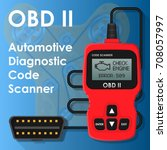 obd2 obd ii can bus portable... | Shutterstock .eps vector #708057997