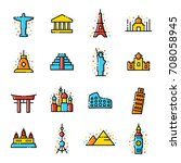 world travel landmarks icons | Shutterstock .eps vector #708058945