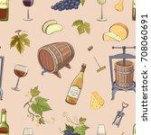 seamless vector pattern wine.... | Shutterstock .eps vector #708060691
