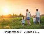 large family with children ... | Shutterstock . vector #708061117